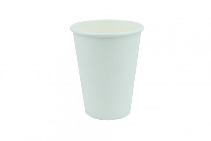 Plain White Insulated Paper Cups Of Single Wall Barbeque Large Volume 400ml