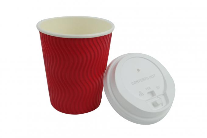 8oz Corrugated Disposable Coffee Cups With Lids , Skid Resistant Hot Drink Cups