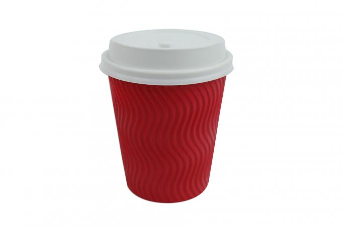 Red Color 12oz Ripple Cups Three Layer Structure With The Inner Most Wall PE Coated