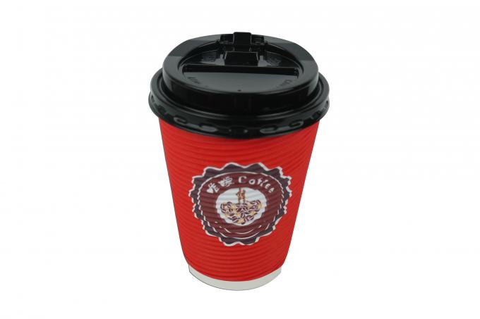 Red Color Ripple Paper Coffee Cups 400ml 90x60x112mm Cup Size Portable Design