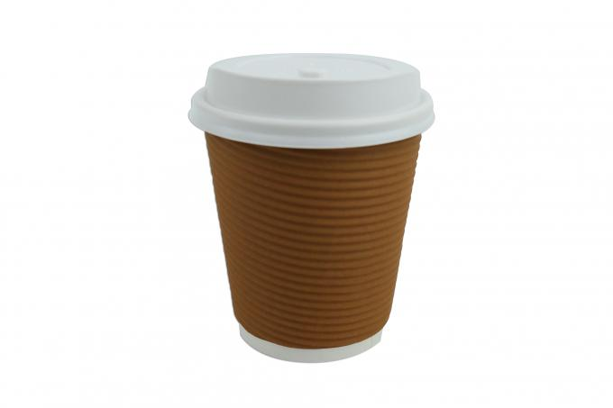 8oz Ripple Insulated Paper Cups Odourless Ink For Taking Away Cold Drinks