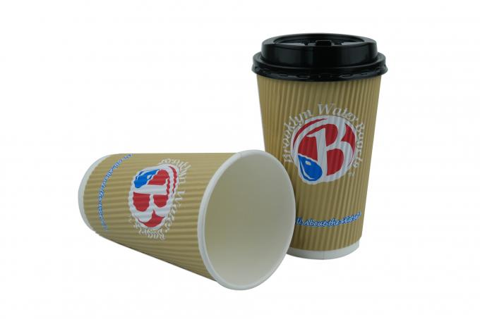ODM / OEM 16oz Ripple Paper Cups Three Layer Structure For Hot Beverage