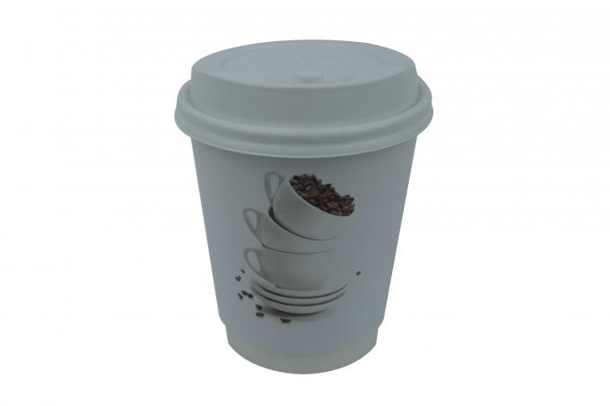 Skid Resistant Insulated Disposable Coffee Cups , Wood Pulp Custom Printed Paper Cups
