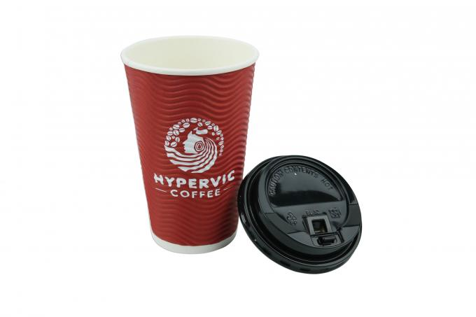 Attractive Design 16oz Ripple Paper Cups 300 400 500ml Volume For Advertising
