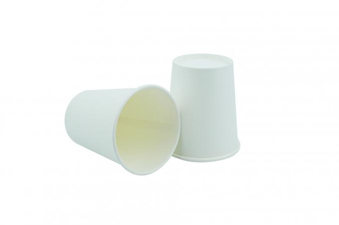 Plain White 7oz Disposable Drinking Cups SGS FDA With Smoothful Round Rim