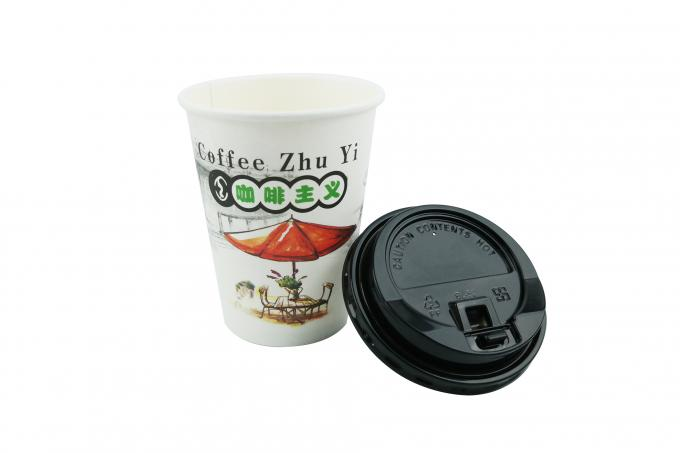 Single Wall 12oz Disposable Coffee Cups , Smoothful Rim Paper Espresso Cups