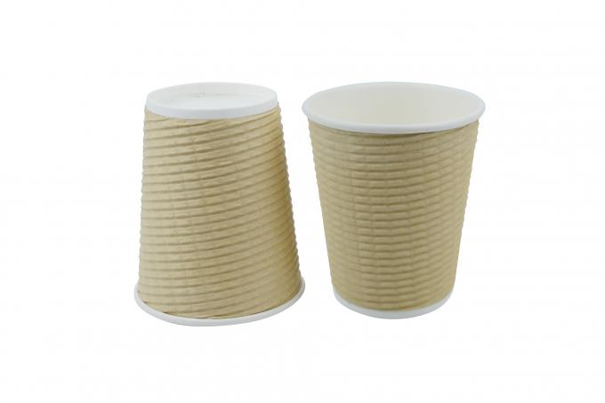 8oz Kraft Ripple Disposable Coffee Cups , Biodegradable Paper Cups For Hot Drinks