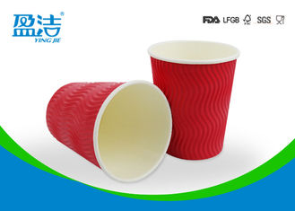 China Red Color 12oz Ripple Cups Three Layer Structure With The Inner Most Wall PE Coated supplier