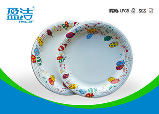 China 9 Inch Colored Disposable Paper Plates With Shiny Oil Coated Surface supplier