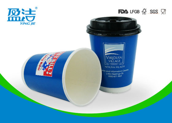 Disposable Insulated Paper Coffee Cups 12oz Printed By Water Based Ink